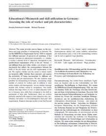 "Coverbild der Publikation ""Educational (Mis)match and skill utilization in Germany: Assessing the role of worker and job characteristics"""