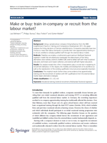"Coverbild der Publikation ""Make or buy: Train in-company or recruit from the labour market?"""